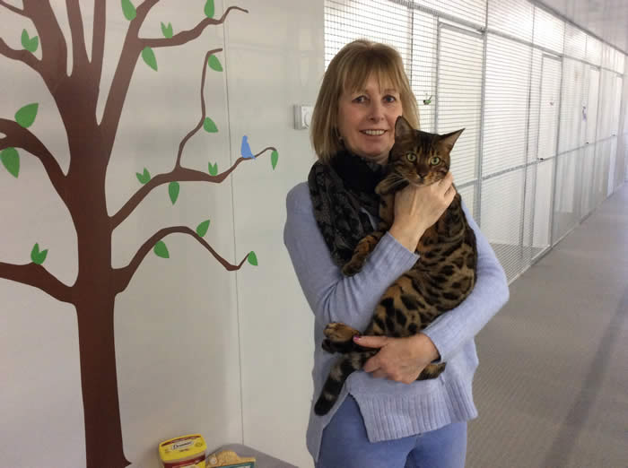 Jill with one of her guests in the new cattery